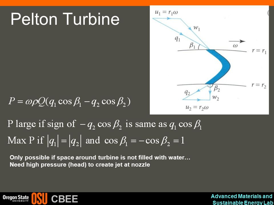 Advanced Materials and Sustainable Energy Lab CBEE Pelton Turbine Only possible if space around turbine is not filled with water… Need high pressure (