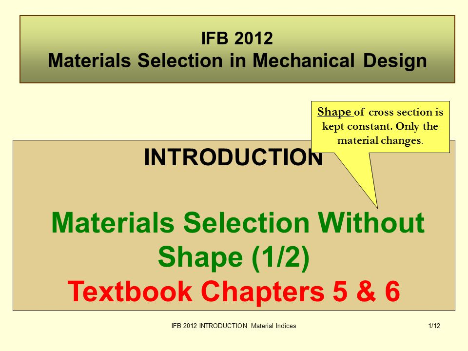 IFB 2012 INTRODUCTION Material Indices22/12 mass =  xV price [c ] = $/kg Total cost C = c x mass = c  V Total cost C   c [$/m 3 ] Function Index Tension (tie) Bending (beam) Bending (panel) Material Indices for Minimum Cost.