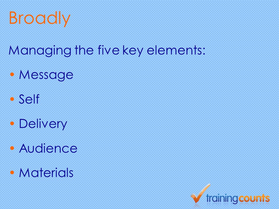 Broadly Managing the five key elements: Message Self Delivery Audience Materials