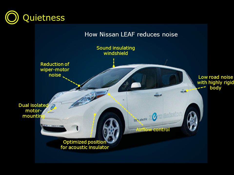 Quietness Sound insulating windshield Reduction of wiper-motor noise Dual isolated motor- mounting Optimized position for acoustic insulator Airflow control Low road noise with highly rigid body How Nissan LEAF reduces noise