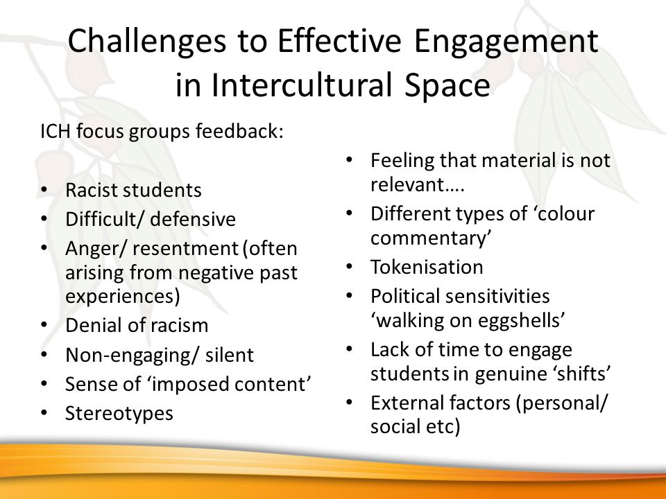 Challenges to Effective Engagement in Intercultural Space ICH focus groups feedback: Racist students Difficult/ defensive Anger/ resentment (often arising from negative past experiences) Denial of racism Non-engaging/ silent Sense of 'imposed content' Stereotypes Feeling that material is not relevant….