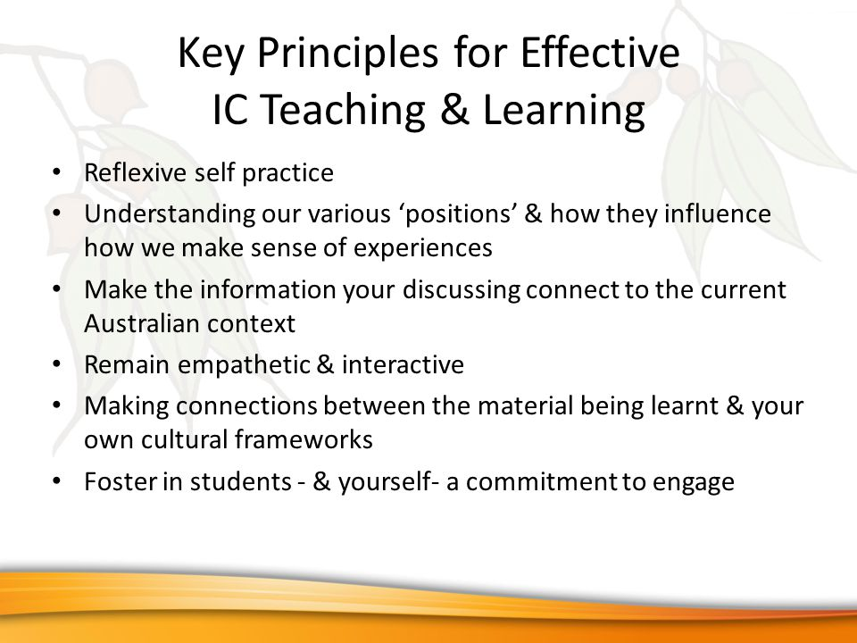 Key Principles for Effective IC Teaching & Learning Reflexive self practice Understanding our various 'positions' & how they influence how we make sense of experiences Make the information your discussing connect to the current Australian context Remain empathetic & interactive Making connections between the material being learnt & your own cultural frameworks Foster in students - & yourself- a commitment to engage