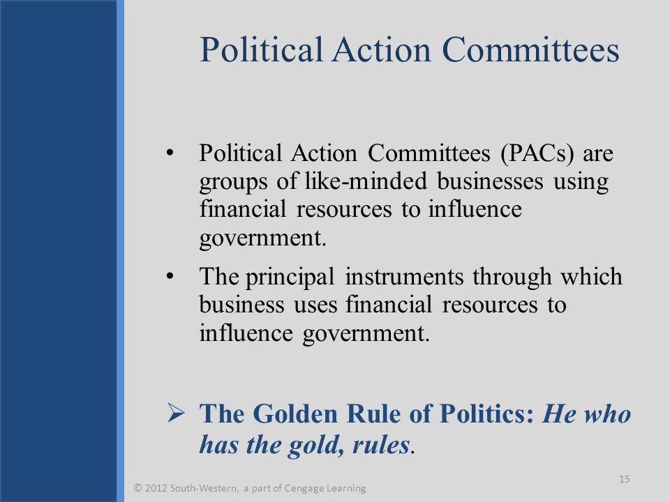 Political Action Committees Political Action Committees (PACs) are groups of like-minded businesses using financial resources to influence government.