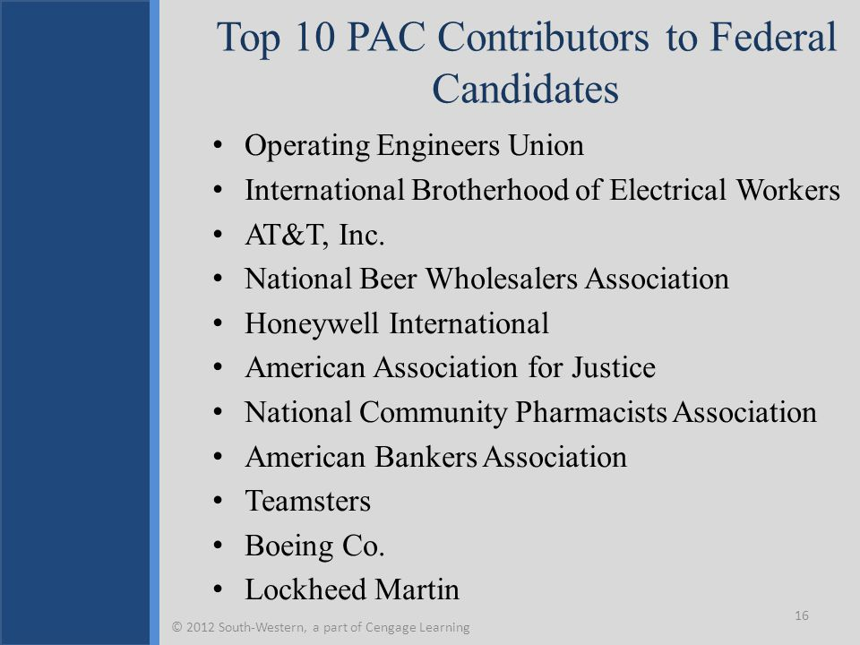 Top 10 PAC Contributors to Federal Candidates Operating Engineers Union International Brotherhood of Electrical Workers AT&T, Inc. National Beer Whole
