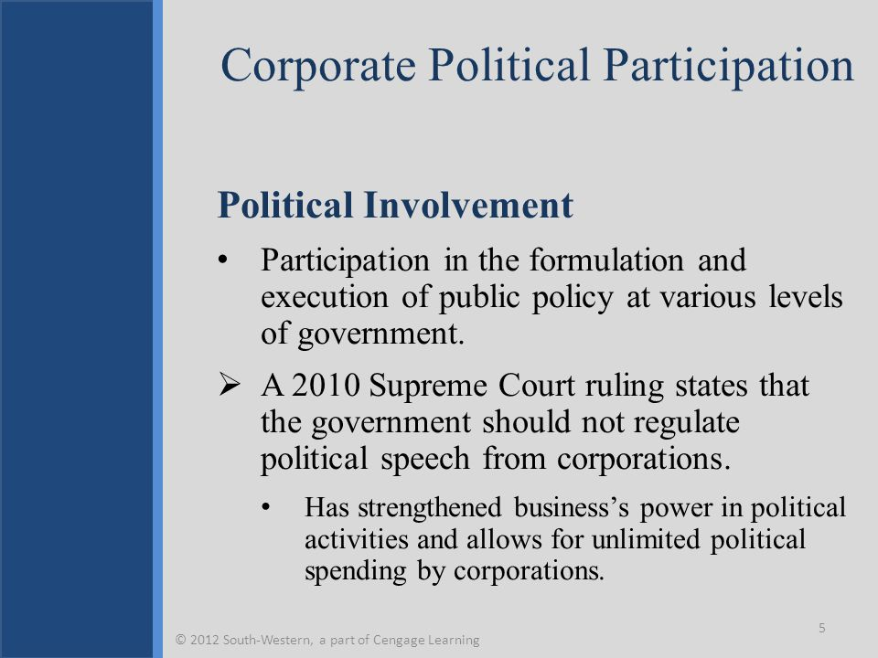 Corporate Political Participation Political Involvement Participation in the formulation and execution of public policy at various levels of governmen
