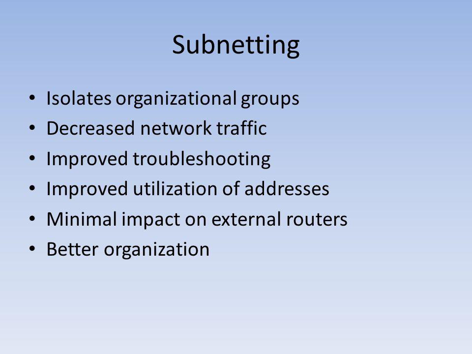 Subnetting Isolates organizational groups Decreased network traffic Improved troubleshooting Improved utilization of addresses Minimal impact on exter