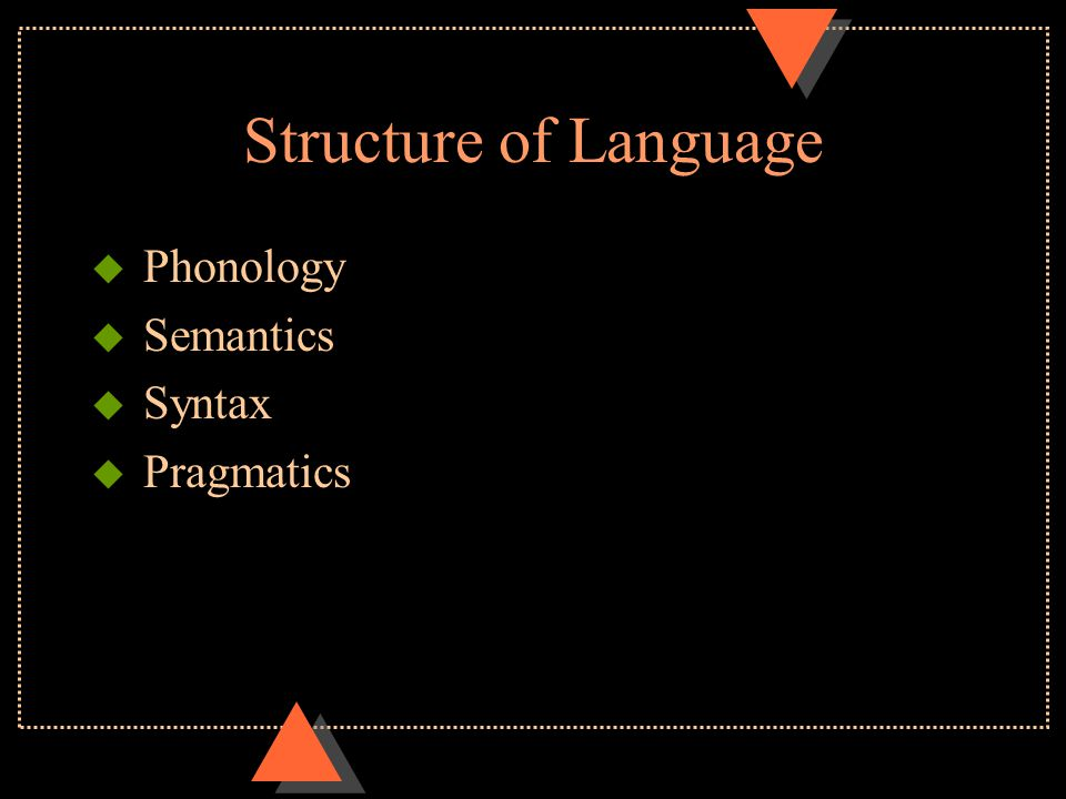 Structure of Language u Phonology u Semantics u Syntax u Pragmatics