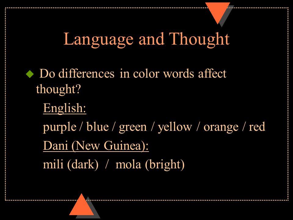 Language and Thought u Sapir-Whorf Hypothesis: language influences thinking –Weak form: language affects thought –Strong form: language limits thought