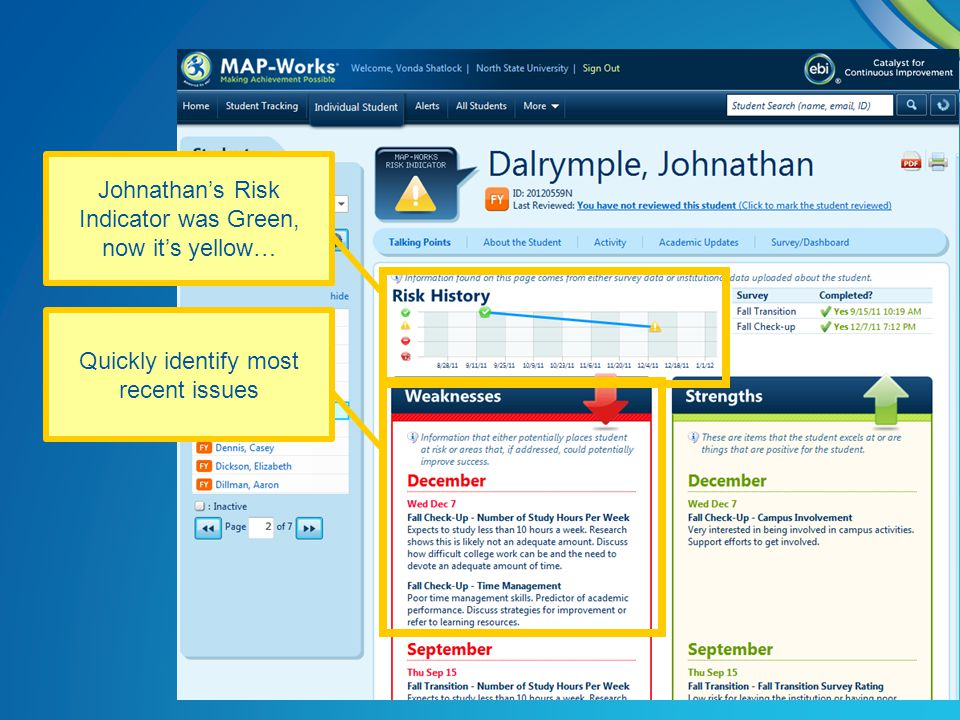 Johnathan's Risk Indicator was Green, now it's yellow… Quickly identify most recent issues