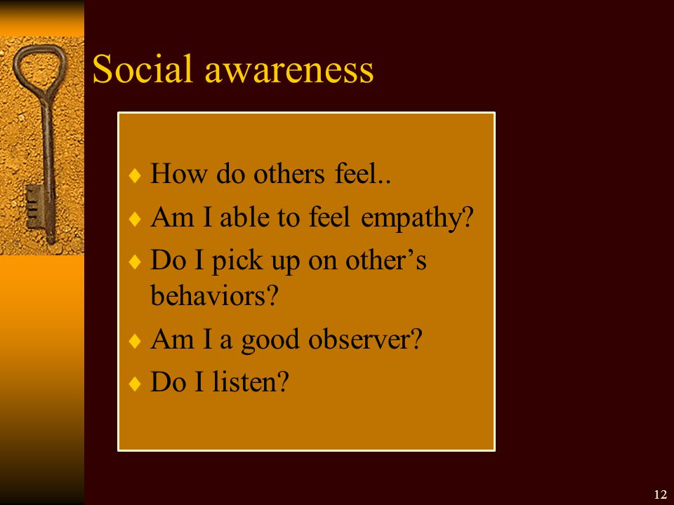 Social awareness  How do others feel..  Am I able to feel empathy.