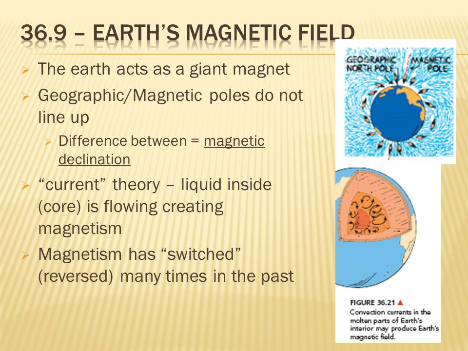  The earth acts as a giant magnet  Geographic/Magnetic poles do not line up  Difference between = magnetic declination  current theory – liquid inside (core) is flowing creating magnetism  Magnetism has switched (reversed) many times in the past