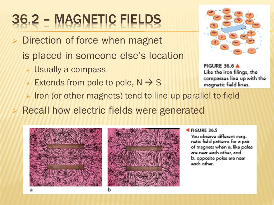  Direction of force when magnet is placed in someone else's location  Usually a compass  Extends from pole to pole, N  S  Iron (or other magnets) tend to line up parallel to field  Recall how electric fields were generated
