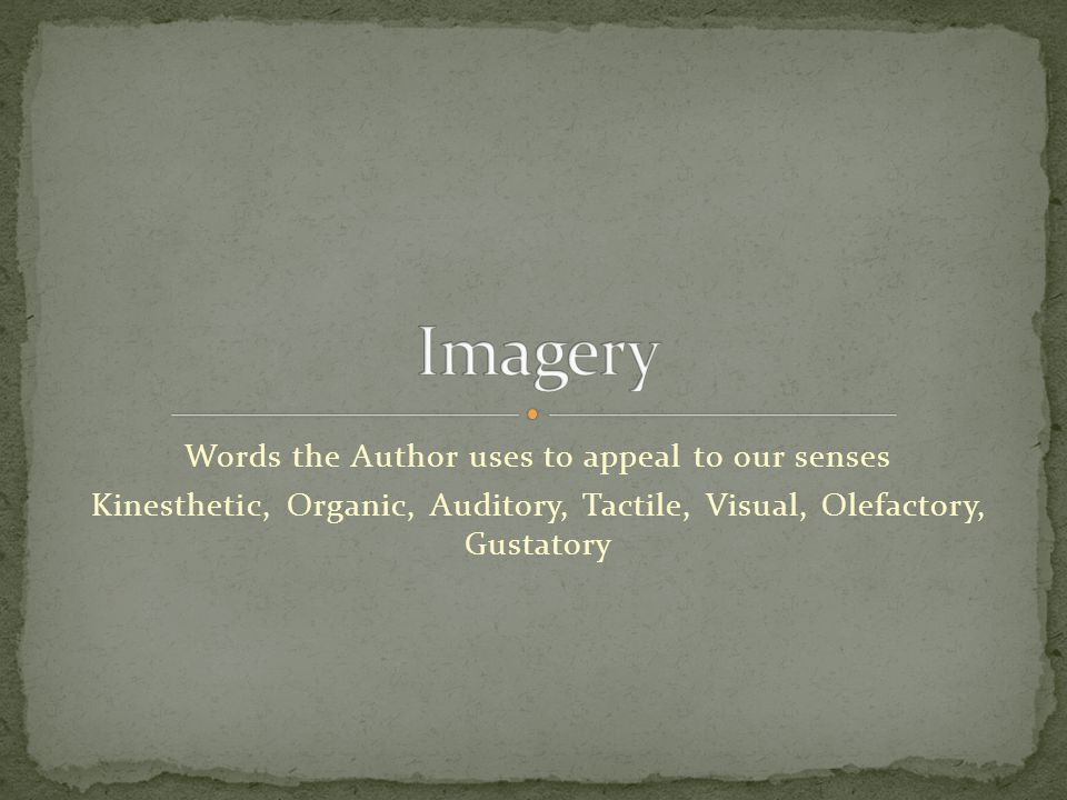 Words the Author uses to appeal to our senses Kinesthetic, Organic, Auditory, Tactile, Visual, Olefactory, Gustatory