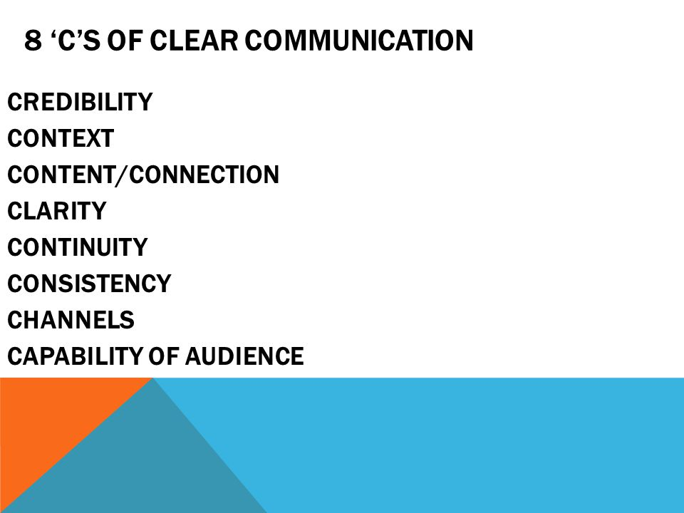 8 'C'S OF CLEAR COMMUNICATION CREDIBILITY CONTEXT CONTENT/CONNECTION CLARITY CONTINUITY CONSISTENCY CHANNELS CAPABILITY OF AUDIENCE