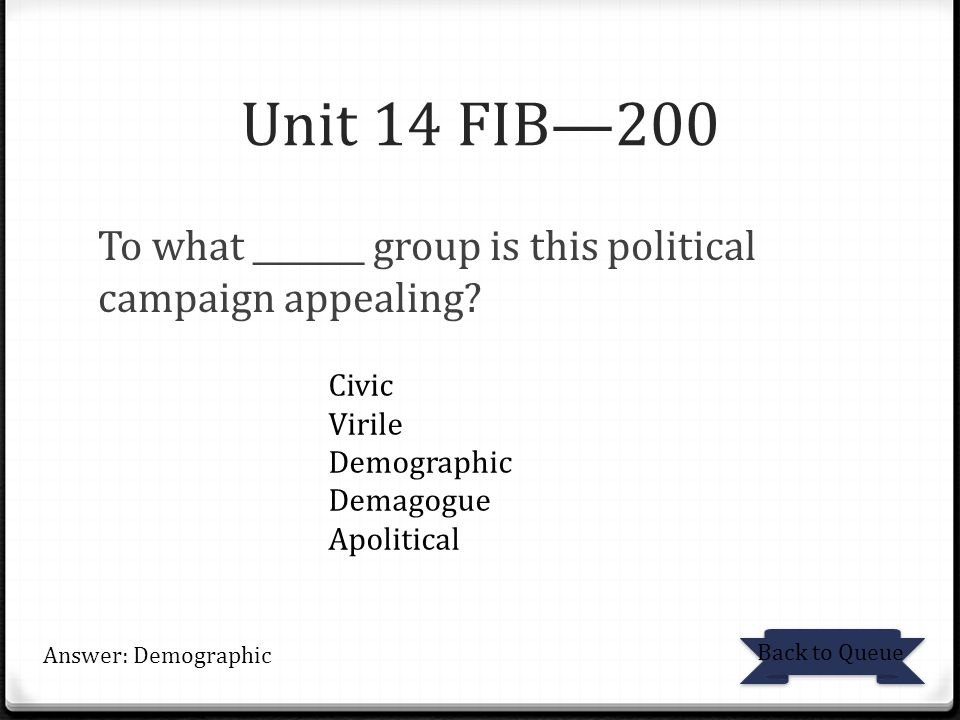 Unit 14 FIB—200 To what _______ group is this political campaign appealing.