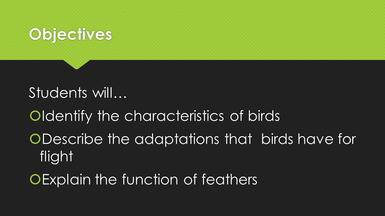Characteristics of Birds  1) Endothermic (warm blooded)  2) two wings  3) two legs  4) covered mostly with feathers  5) Bill or beak  6) Lay a hard-shelled egg  1) Endothermic (warm blooded)  2) two wings  3) two legs  4) covered mostly with feathers  5) Bill or beak  6) Lay a hard-shelled egg
