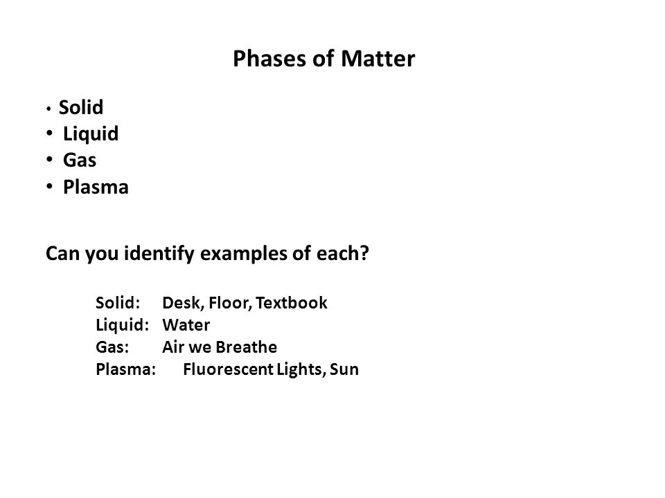 Phases of Matter Solid Liquid Gas Plasma Can you identify examples of each.