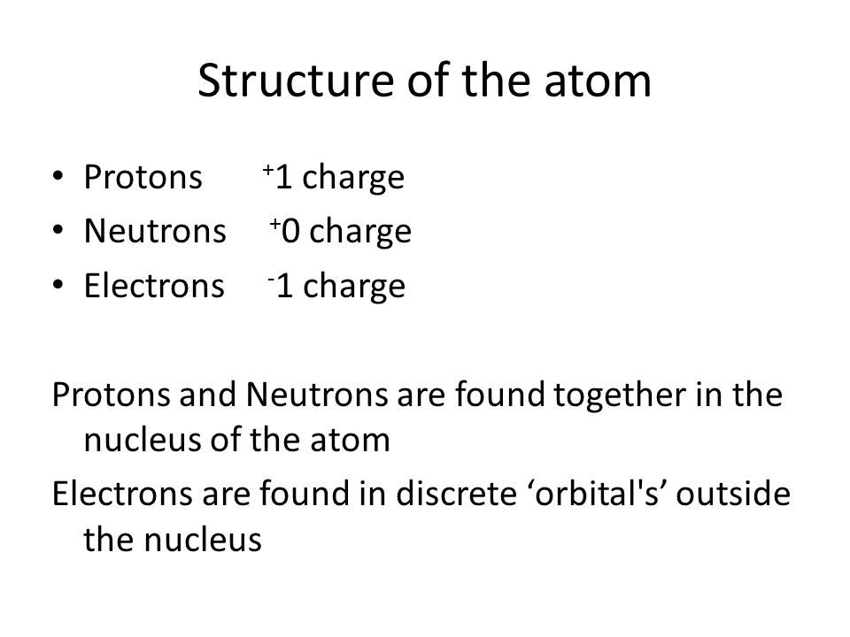Structure of the atom Protons + 1 charge Neutrons + 0 charge Electrons - 1 charge Protons and Neutrons are found together in the nucleus of the atom Electrons are found in discrete 'orbital s' outside the nucleus
