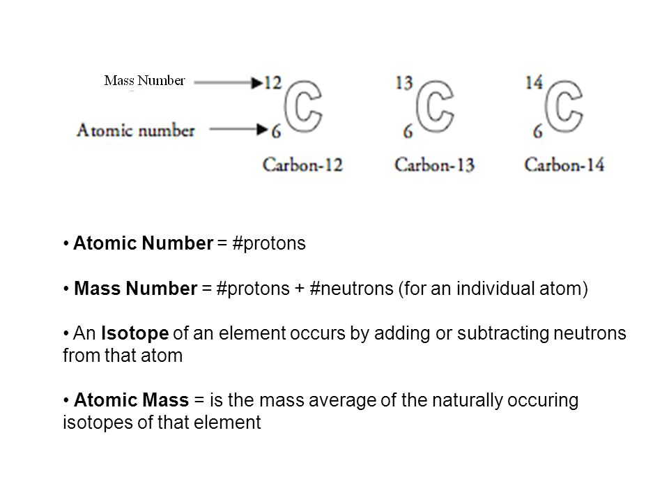 Atomic Number = #protons Mass Number = #protons + #neutrons (for an individual atom) An Isotope of an element occurs by adding or subtracting neutrons from that atom Atomic Mass = is the mass average of the naturally occuring isotopes of that element