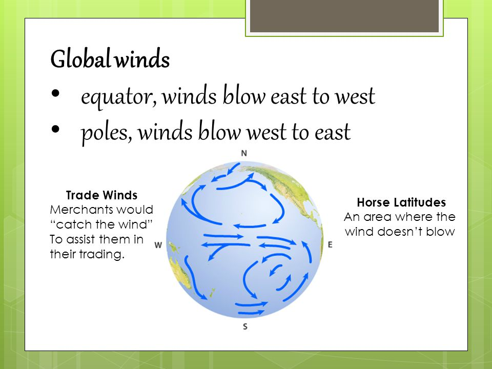 Global winds equator, winds blow east to west poles, winds blow west to east Trade Winds Merchants would catch the wind To assist them in their trading.