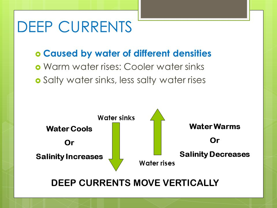 DEEP CURRENTS  Caused by water of different densities  Warm water rises: Cooler water sinks  Salty water sinks, less salty water rises Water sinks Water Cools Or Salinity Increases Water Warms Or Salinity Decreases Water rises DEEP CURRENTS MOVE VERTICALLY