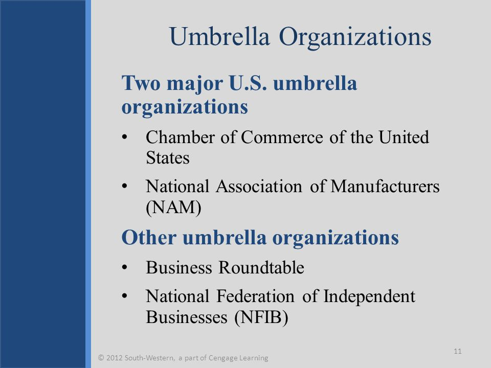 Umbrella Organizations Two major U.S. umbrella organizations Chamber of Commerce of the United States National Association of Manufacturers (NAM) Othe