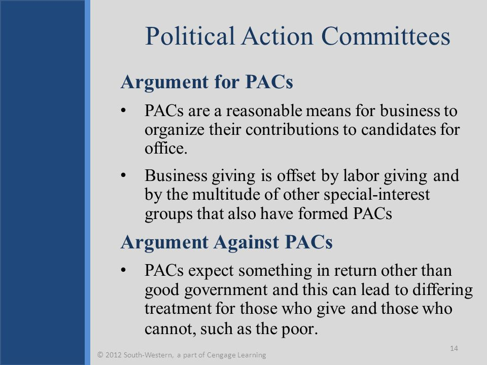 Political Action Committees Argument for PACs PACs are a reasonable means for business to organize their contributions to candidates for office. Busin