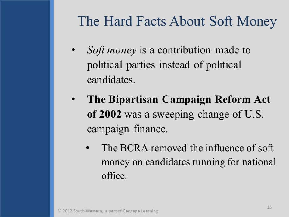 The Hard Facts About Soft Money Soft money is a contribution made to political parties instead of political candidates. The Bipartisan Campaign Reform