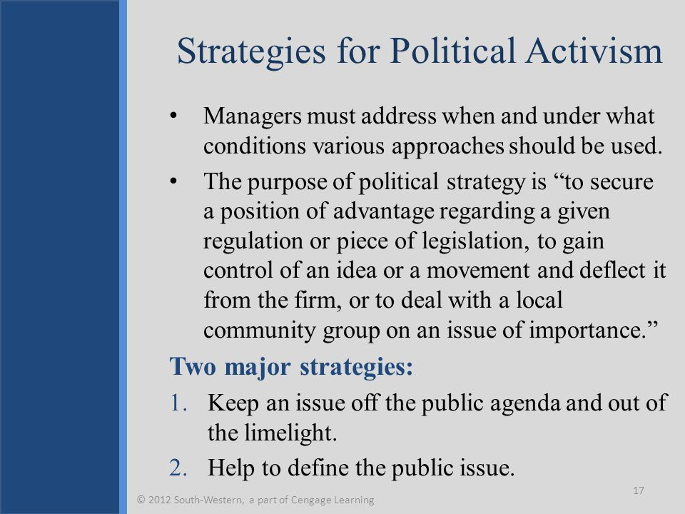 Strategies for Political Activism Managers must address when and under what conditions various approaches should be used. The purpose of political str