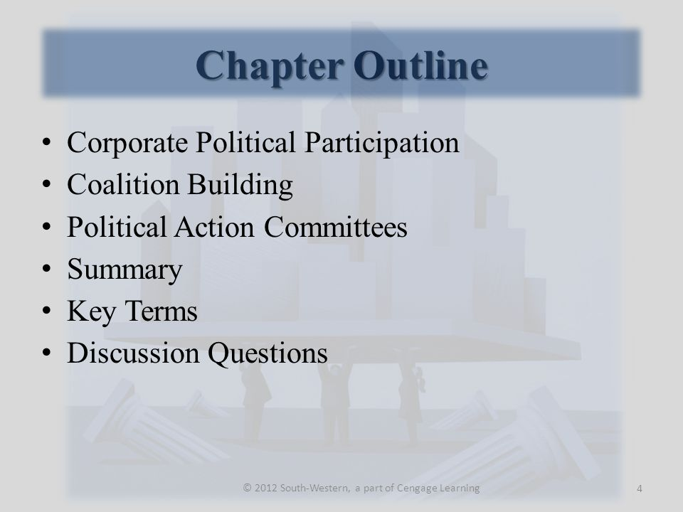 Corporate Political Participation Political Involvement Participation in the formulation and execution of public policy at various levels of government.