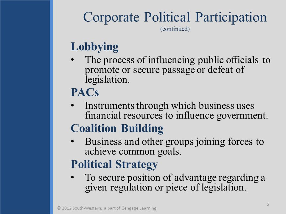 Strategies for Political Activism Managers must address when and under what conditions various approaches should be used.