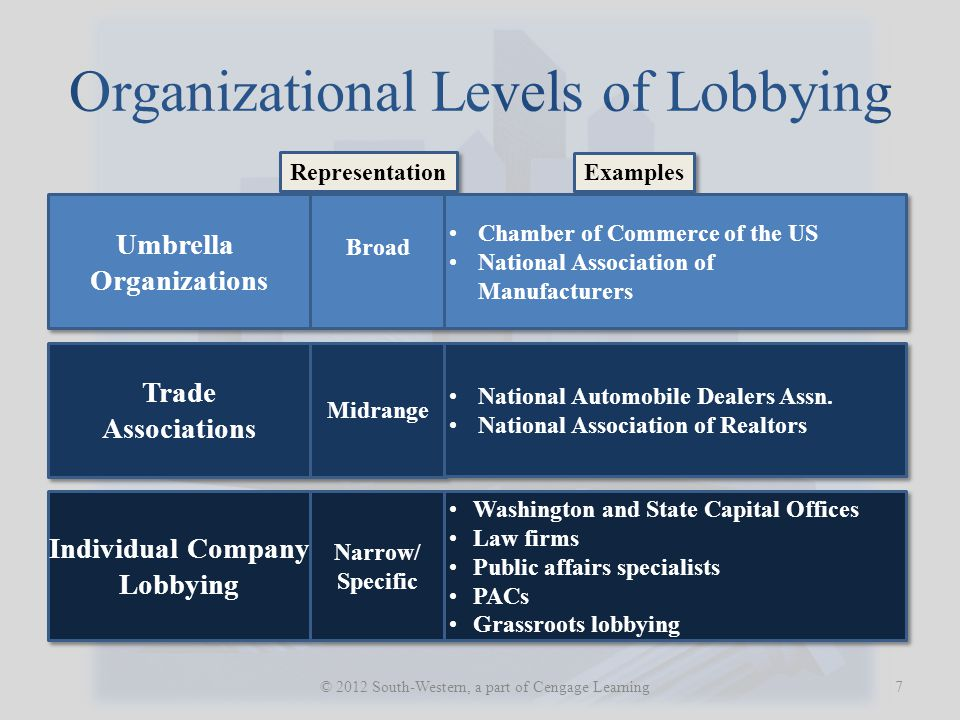 Organizational Levels of Lobbying 7 © 2012 South-Western, a part of Cengage Learning