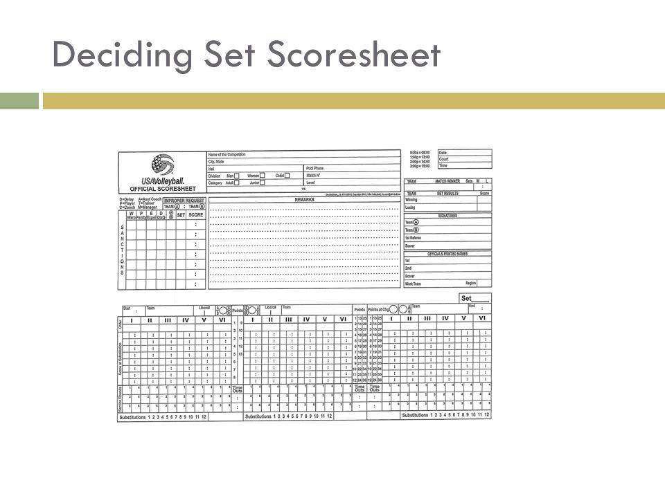 Deciding Set Scoresheet
