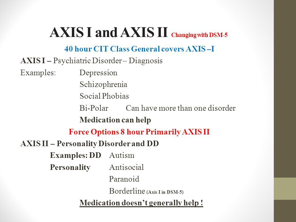 AXIS I and AXIS II Changing with DSM-5 40 hour CIT Class General covers AXIS –I AXIS I – Psychiatric Disorder – Diagnosis Examples: Depression Schizop