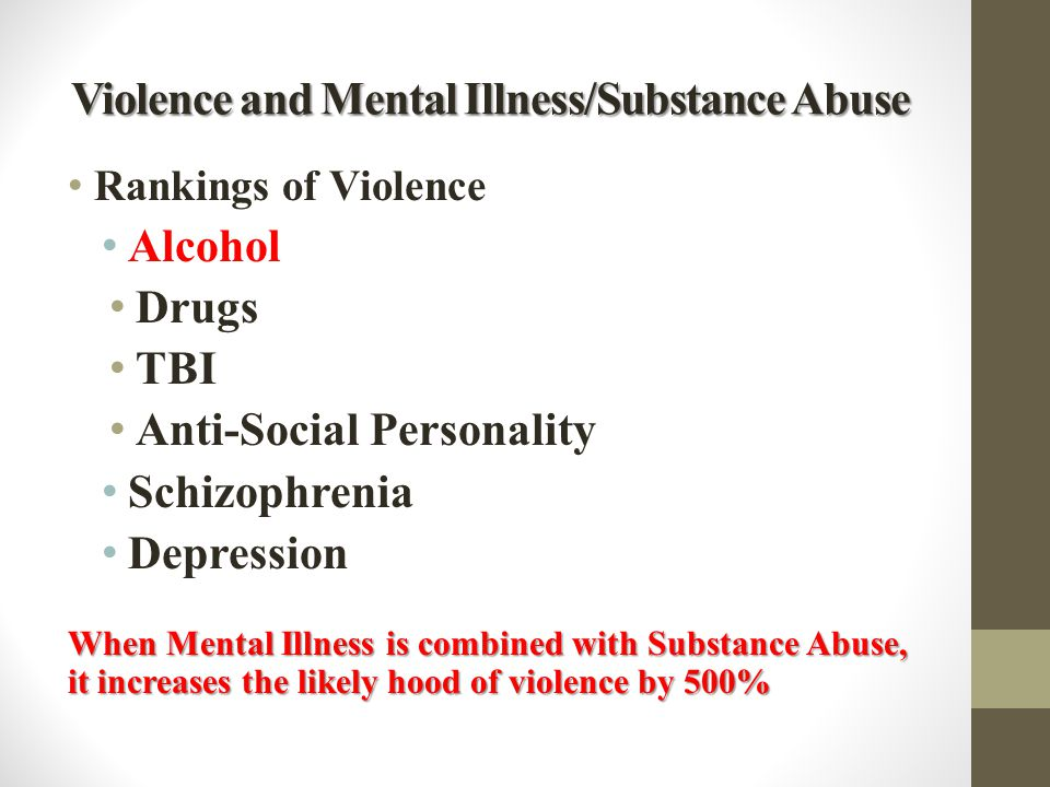 Violence and Mental Illness/Substance Abuse Rankings of Violence Alcohol Drugs TBI Anti-Social Personality Schizophrenia Depression When Mental Illnes