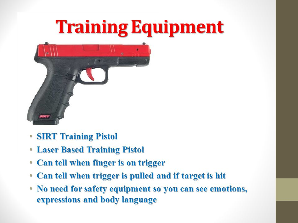 Training Equipment SIRT Training Pistol SIRT Training Pistol Laser Based Training Pistol Laser Based Training Pistol Can tell when finger is on trigge