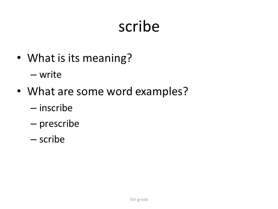 scribe What is its meaning. – write What are some word examples.