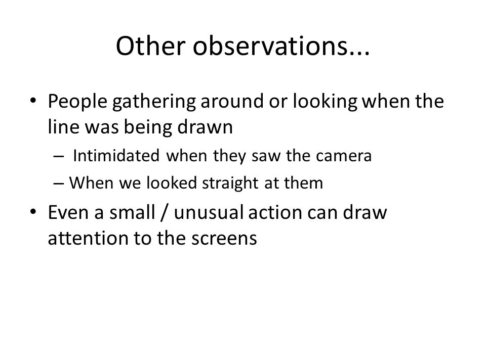 Other observations...