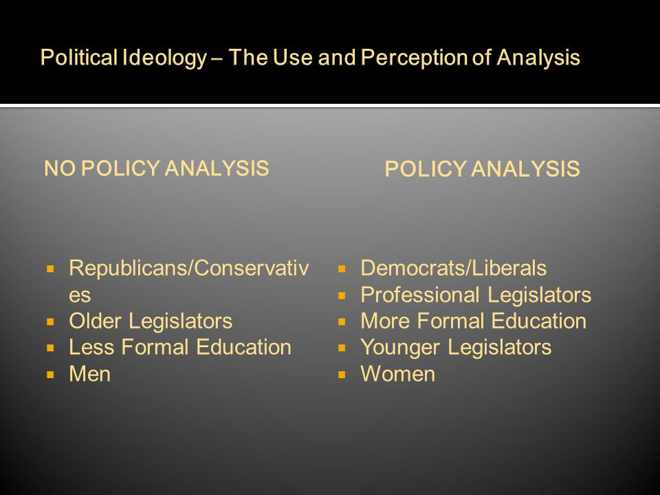 NO POLICY ANALYSIS  Republicans/Conservativ es  Older Legislators  Less Formal Education  Men POLICY ANALYSIS  Democrats/Liberals  Professional Legislators  More Formal Education  Younger Legislators  Women