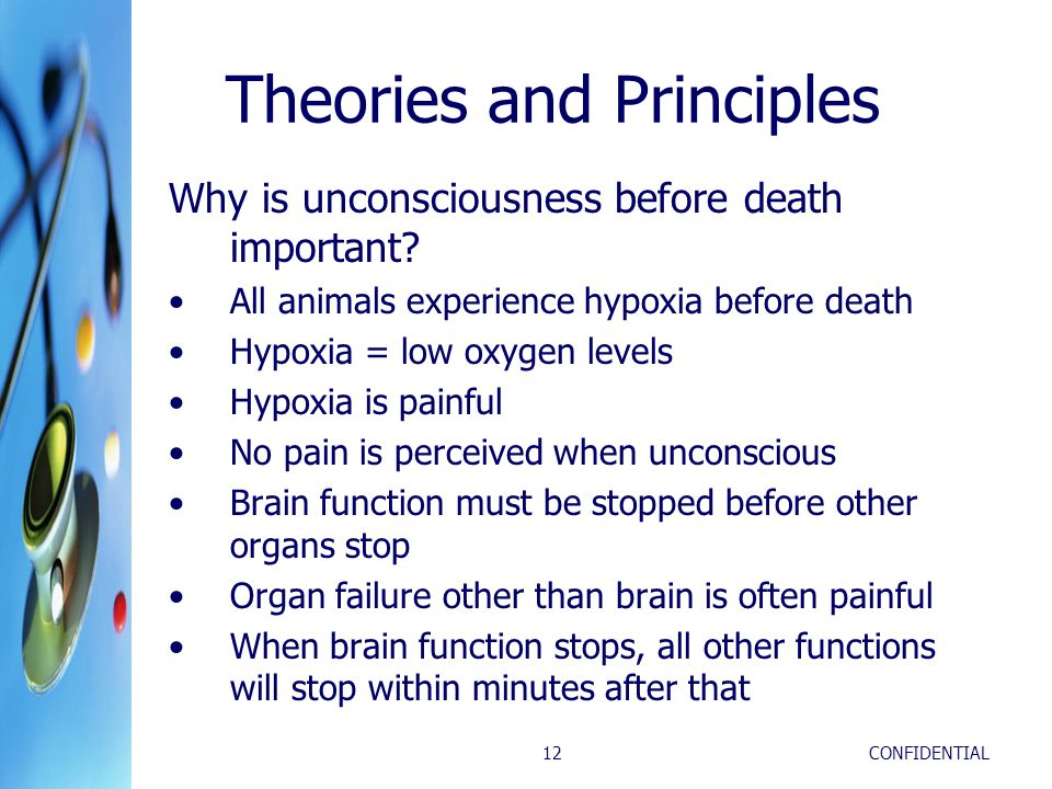 CONFIDENTIAL12 Theories and Principles Why is unconsciousness before death important? All animals experience hypoxia before death Hypoxia = low oxygen