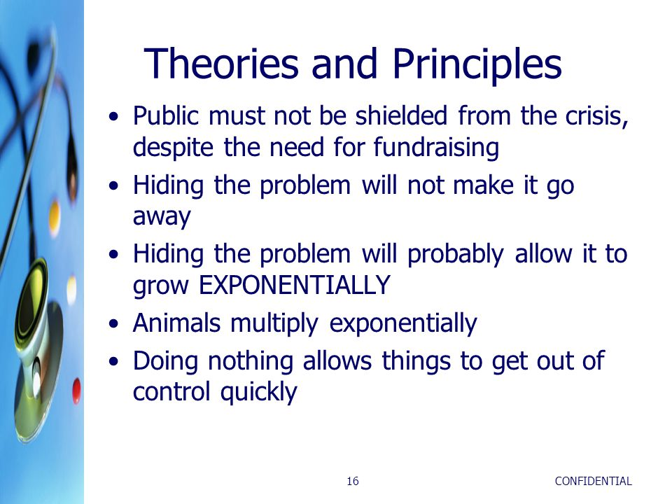 CONFIDENTIAL16 Theories and Principles Public must not be shielded from the crisis, despite the need for fundraising Hiding the problem will not make it go away Hiding the problem will probably allow it to grow EXPONENTIALLY Animals multiply exponentially Doing nothing allows things to get out of control quickly