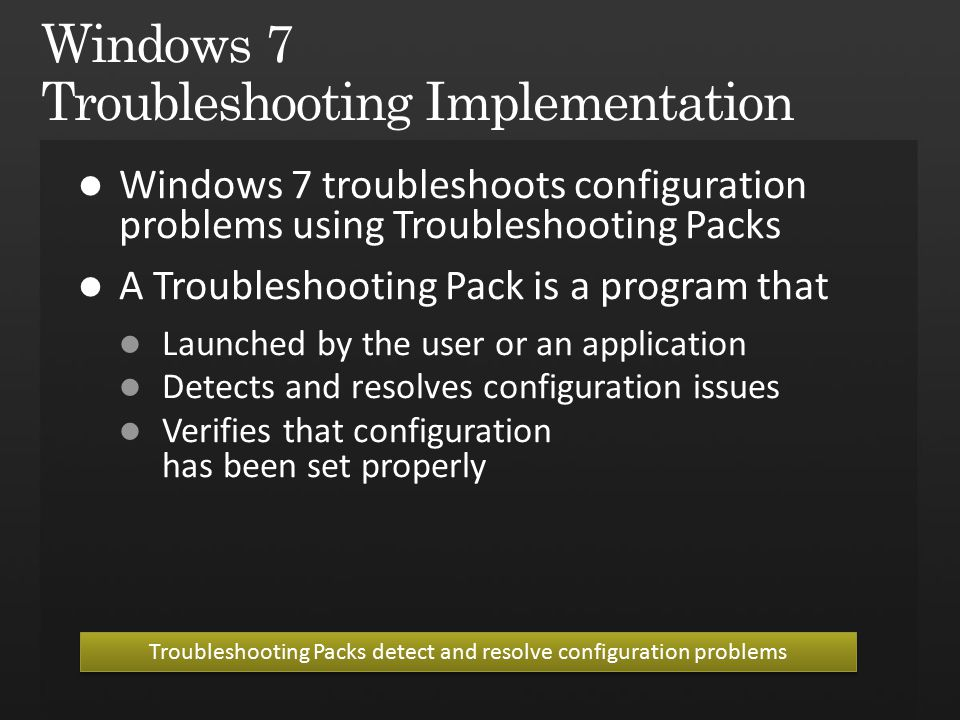 Troubleshooting Packs detect and resolve configuration problems