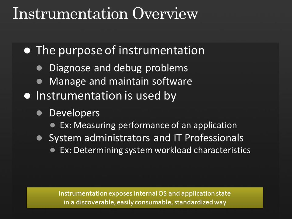 Instrumentation exposes internal OS and application state in a discoverable, easily consumable, standardized way