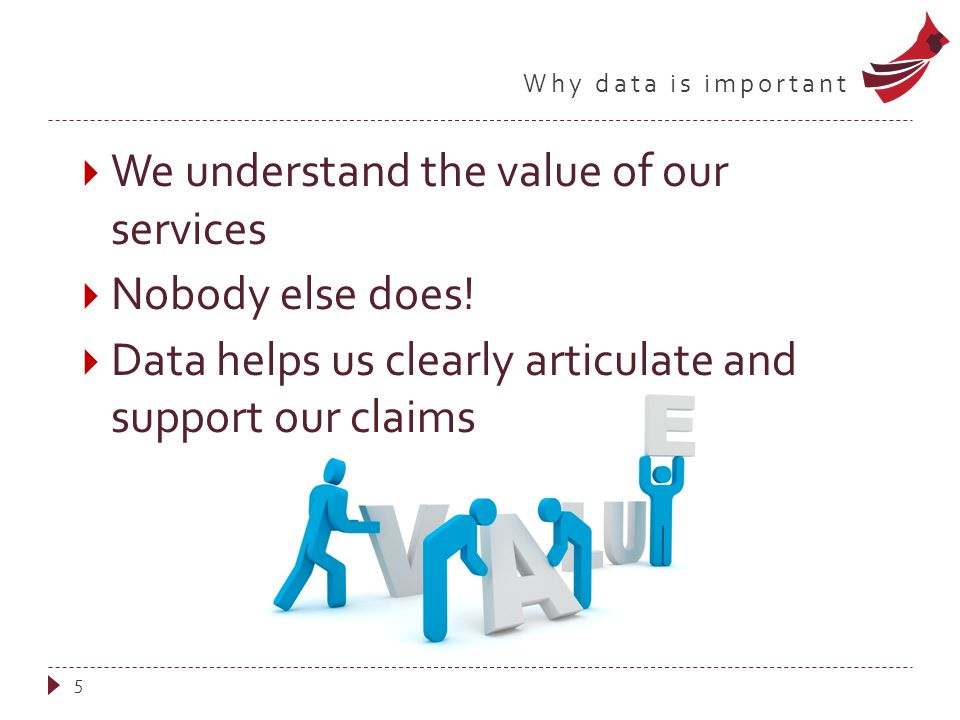 Why data is important  We understand the value of our services  Nobody else does!  Data helps us clearly articulate and support our claims 5