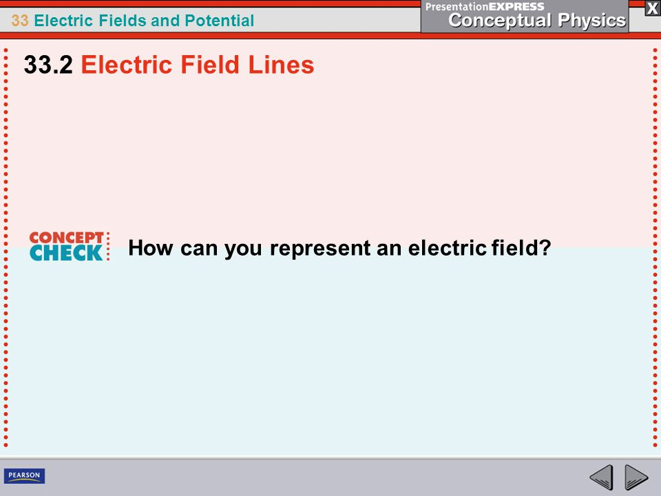33 Electric Fields and Potential How can you represent an electric field? 33.2 Electric Field Lines