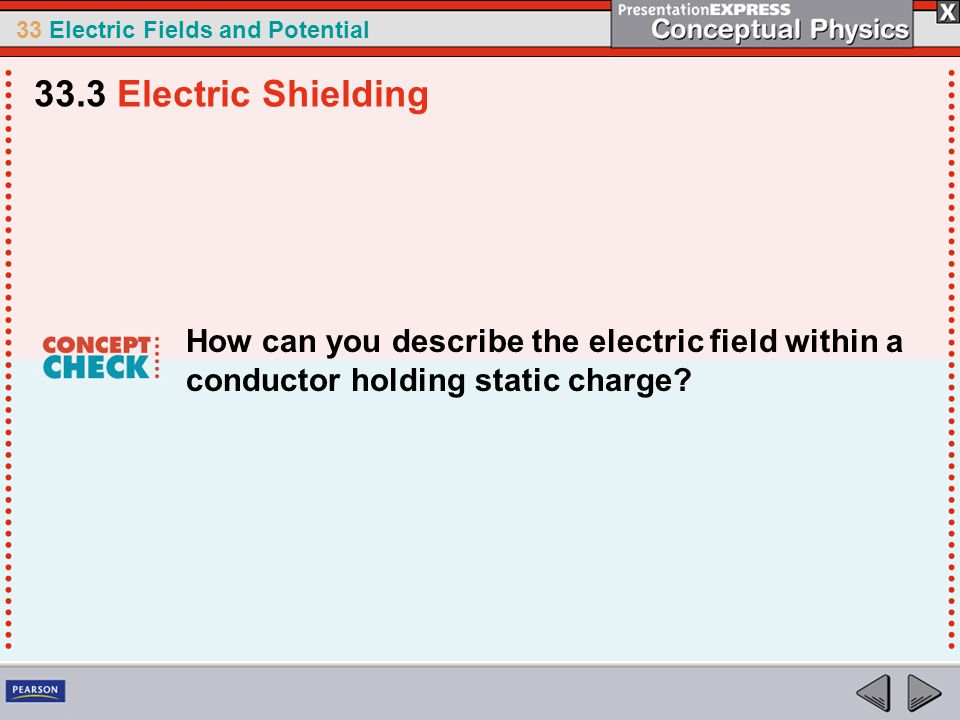 33 Electric Fields and Potential How can you describe the electric field within a conductor holding static charge.