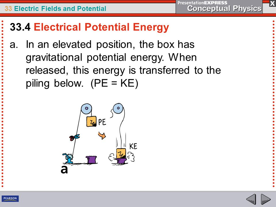 33 Electric Fields and Potential a.In an elevated position, the box has gravitational potential energy.