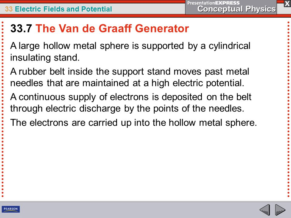 33 Electric Fields and Potential A large hollow metal sphere is supported by a cylindrical insulating stand.