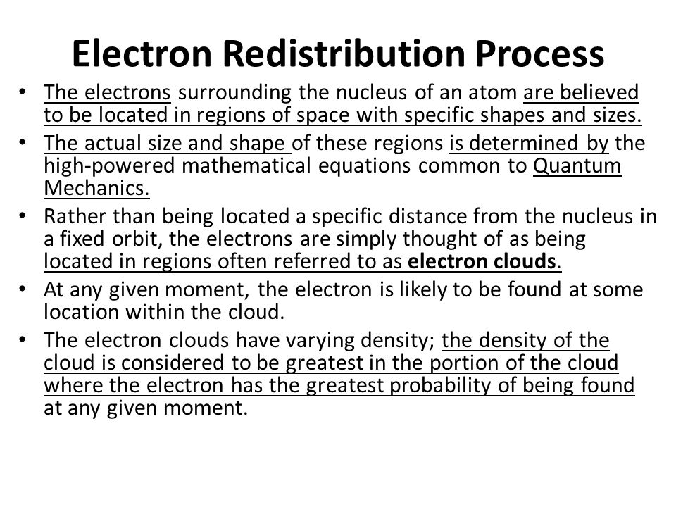 Electron Cloud Distribution And conversely, the electron cloud density is least in the regions where the electron is least likely to be found.