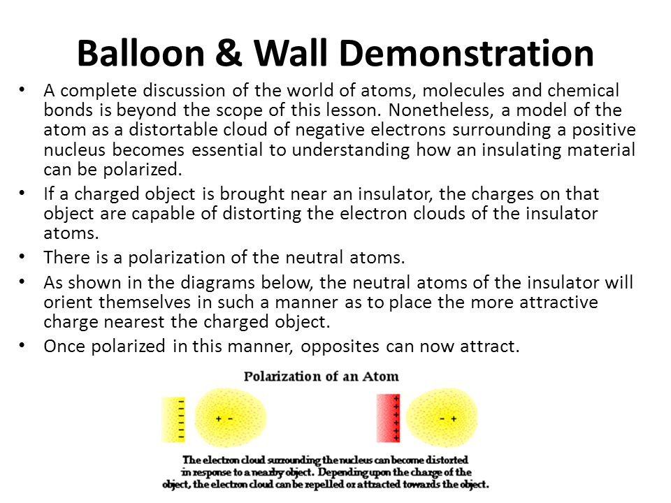 Continued… A common demonstration performed in class involved bringing a negatively charged balloon near a wooden door or wooden cabinet.